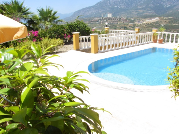 private pool in honeymoon villa with view overlooking the sea and mountains